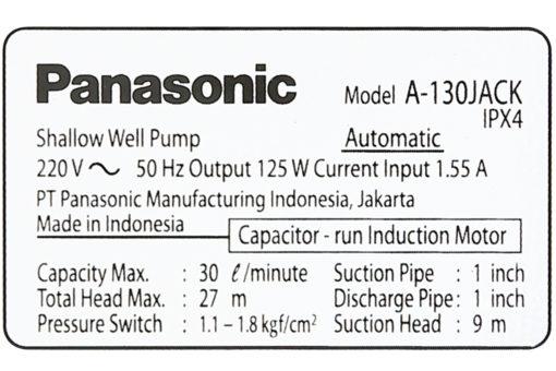 Máy bơm nước tăng áp Panasonic 125W A-130JACK 9