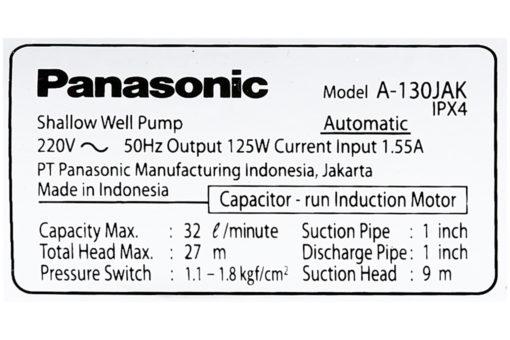 Máy bơm nước tăng áp Panasonic 125W A-130JAK 8