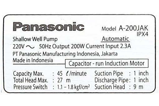 Máy bơm nước tăng áp Panasonic 200W A-200JAK 8
