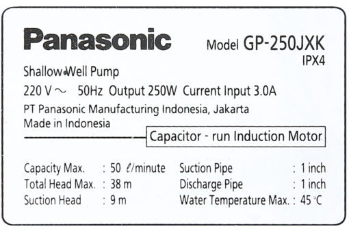 Máy Bơm Nước Đẩy Cao Panasonic 250W GP-250JXK 7