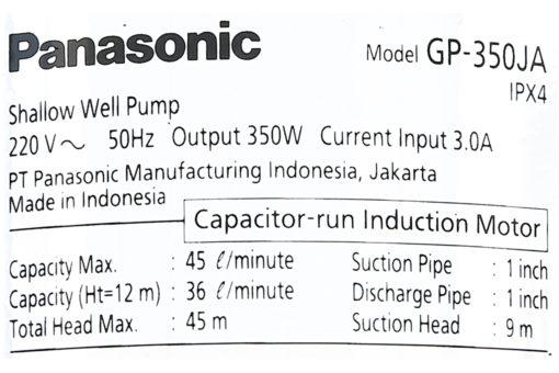 Máy bơm nước đẩy cao Panasonic 350W GP-350JA-SV5 8