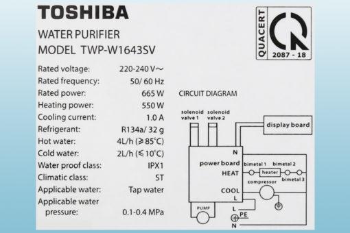 Máy lọc nước NÓNG - LẠNH RO Toshiba TWP-W1643SV - 4 lõi 8